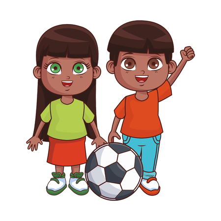 Illustration pour Cute kids cartoon boy and girl smiling with soccer ball vector illustration graphic design - image libre de droit