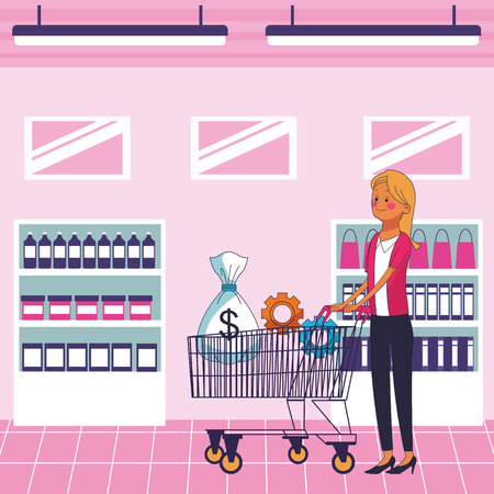 Illustration for business saving money cartoon vector illustration graphic design - Royalty Free Image