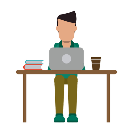 Illustration pour freelancer working with laptop and coffee on desk vector illustration graphic design - image libre de droit