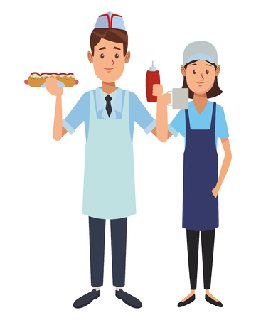 Illustration for restaurant waiter and waitress with fast food hot dog and sauce cartoon vector illustration graphic design - Royalty Free Image