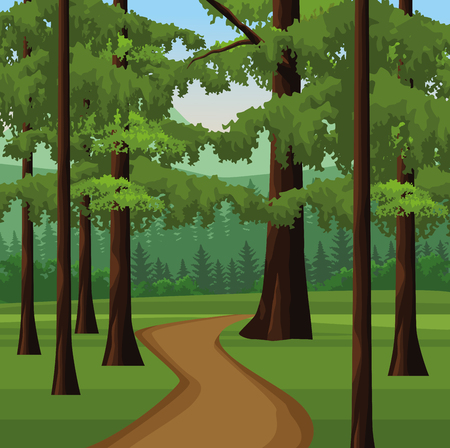 Illustration pour Wanderlust landscape scenery forest with path vector illustration graphic design - image libre de droit