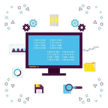 Illustration pour Big data technology with symbols vector illustration graphic design - image libre de droit