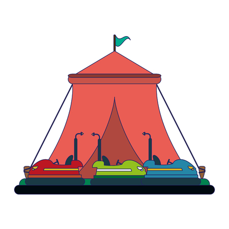 Illustration for Festival tent and bumpers cars vector illustration graphic design - Royalty Free Image