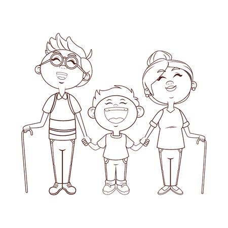 Illustration for grandparents family grandson vector illustration graphic design - Royalty Free Image