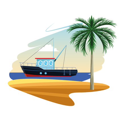 Illustration for fishing boat in the sea near island shore cartoon flat white background vector illustration graphic design - Royalty Free Image