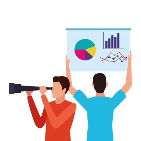 Illustration pour business people and element telescope and datachart vector illustration graphic design - image libre de droit