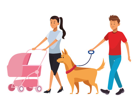 Illustration for couple with baby and dog family cart vector illustration graphic design - Royalty Free Image