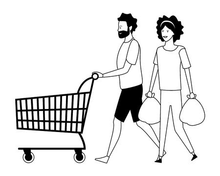 Illustration for love couple shopping concept cartoon vector illustration graphic designyoung man cartoon - Royalty Free Image