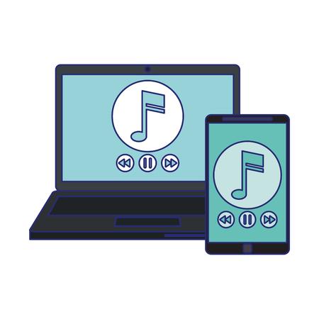 Illustration pour smartphone and laptop with music players vector illustration graphic design - image libre de droit