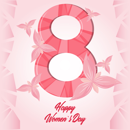 Illustration for Happy women day pink card butterflies vector illustration graphic design - Royalty Free Image