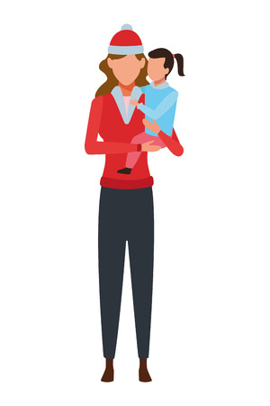 Illustration for woman carrying a child on her arms wearing knitted cap vector illustration graphic design - Royalty Free Image