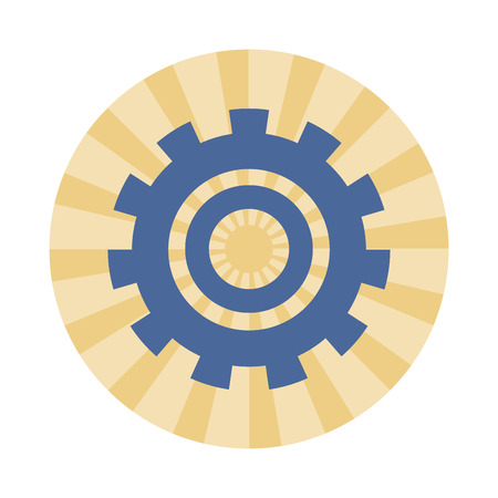 Big gear symbol machinery round striped icon vector illustration graphic design