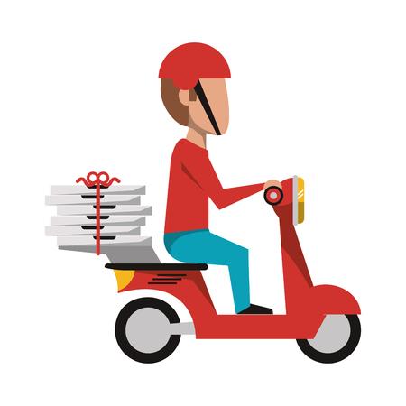 Illustration pour Courier driving scooter with pizzas vector illustration graphic design - image libre de droit