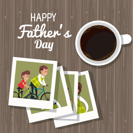 Illustration pour Happy fathers day card with cute family cartoons vector illustration graphic design - image libre de droit