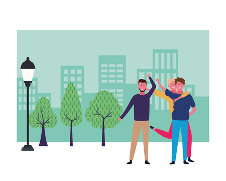 Illustration for Happy people friends smiling and having fun cartoon at city park scenery frame vector illustration graphic design - Royalty Free Image