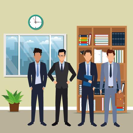 Illustration pour executive business men cartoon  inside office building scenery vector illustration graphic design - image libre de droit