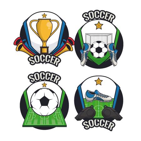 Illustration pour Soccer sport game cartoons collection vector illustration graphic design - image libre de droit
