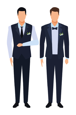 Illustration pour men wearing tuxedo avatar cartoon characters with tie and waistcoat vector illustration graphic design - image libre de droit