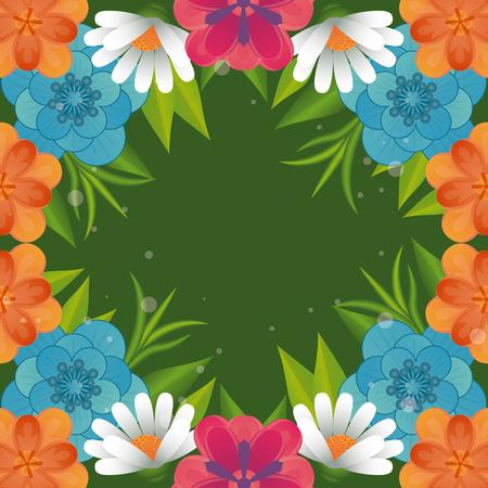 Illustration pour Floral frame blank colorful card vector illustration graphic design - image libre de droit
