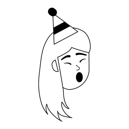 Illustration pour happy woman singing in birthday cartoon vector illustration graphic design - image libre de droit
