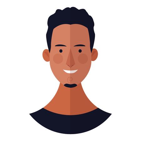 Illustration pour young man with beard face cartoon vector illustration graphic design - image libre de droit