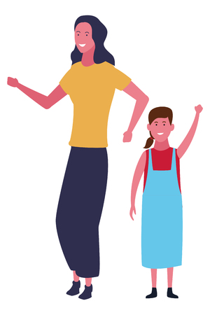 Illustration for Single mother with kid daughter cartoon vector illustration graphic design - Royalty Free Image