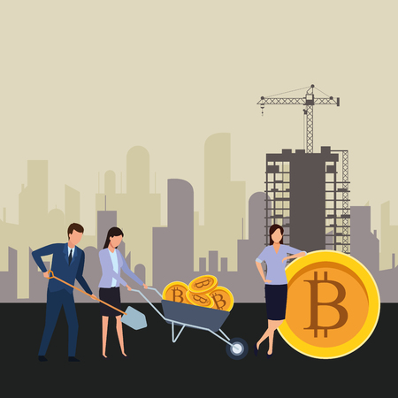 Illustration for business people holding cryptocurrency bitcoin wheelbarrow and shovel construction zone vector illustration graphic design - Royalty Free Image