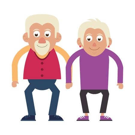 Illustration for Elderly couple grandparents senior citizen vector illustration graphic design - Royalty Free Image