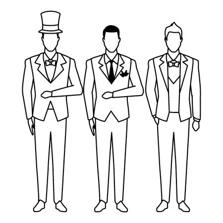 men wearing tuxedo avatar cartoon characters with bow tie, top hat and waistcoat black and white vector illustration graphic design