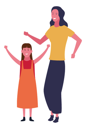 Illustration for Family single mother with daughter vector illustration graphic design - Royalty Free Image