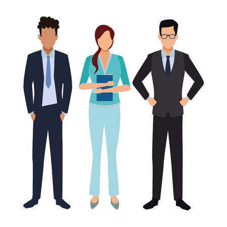 Illustration for executive business coworkers cartoon vector illustration graphic design - Royalty Free Image