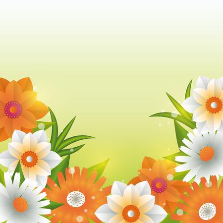 Illustration pour Beautiful flowers and leaves green background vector illustration graphic design - image libre de droit
