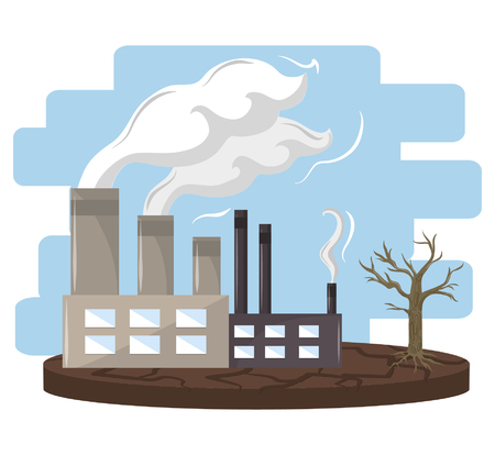 Illustration pour industry with smoke polluting icon cartoon vector illustration graphic design - image libre de droit