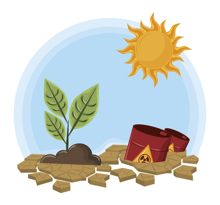 Illustration pour raised plant next to hazardous waste and sun icon cartoon vector illustration graphic design - image libre de droit