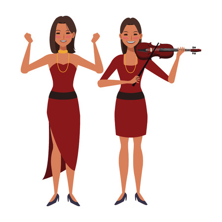 Illustration pour musician playing violin and dancing avatar cartoon character vector illustration graphic design - image libre de droit
