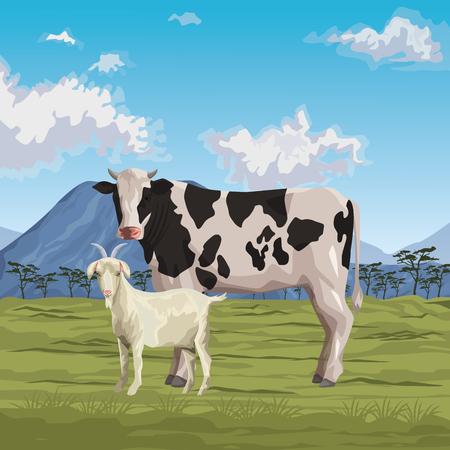 Illustration pour cow and goat icon cartoon wild landscape vector illustration graphic design - image libre de droit