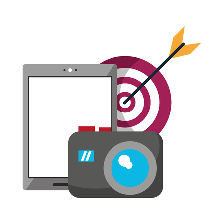 Illustration pour cellphone target and camera icon cartoon vector illustration graphic design - image libre de droit