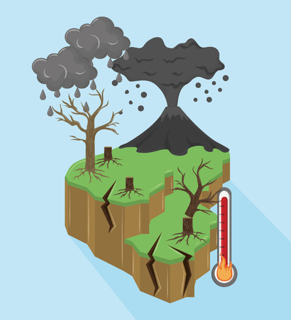 volcano erupting with dead tree and thermometer dark clouds icon cartoon vector illustration graphic design