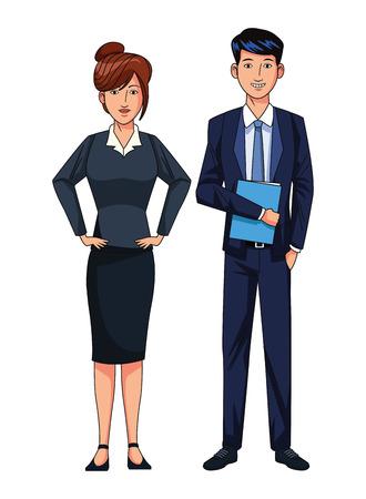 Illustration pour business couple avatar cartoon character vector illustration graphic design - image libre de droit