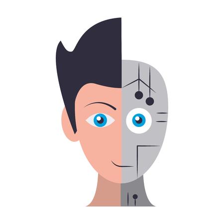 Ilustración de humanoid cyborg front view head half human and half robot avatar cartoon character vector illustration graphic design - Imagen libre de derechos