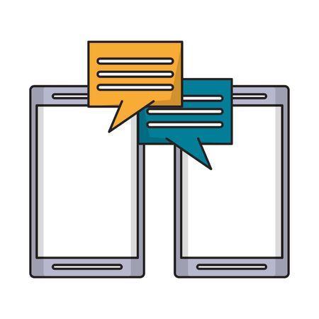 Illustration pour cellphone with speech bubble icon cartoon vector illustration graphic design - image libre de droit
