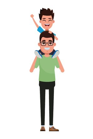 Illustration for family man carrying a child over the shoulder avatar cartoon character portrait vector illustration graphic design - Royalty Free Image