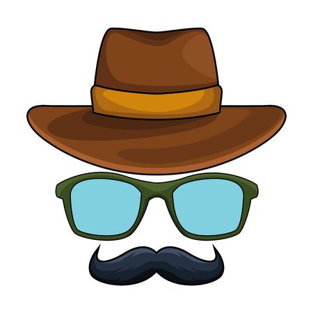 Illustration for cowboy hat, glasses and moustache disguise icon cartoon vector illustration graphic design - Royalty Free Image