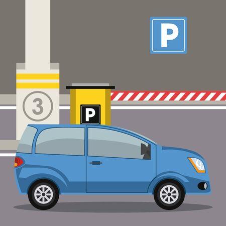 Illustration pour Car parked in lot with parking meter at city vector illustration graphic design - image libre de droit