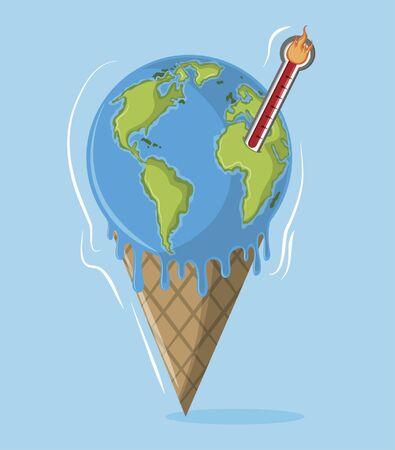 Illustration pour globe melting thermometer and cone icon cartoon vector illustration graphic design - image libre de droit