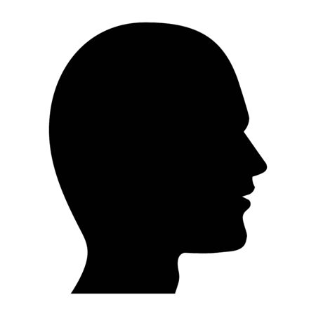 Illustration for human head silhouette icon cartoon black and white vector illustration graphic design - Royalty Free Image