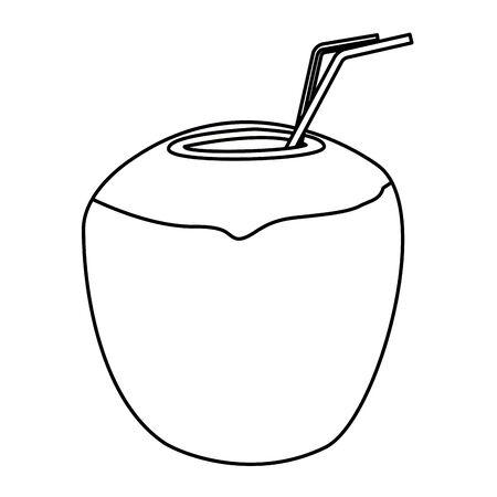 Coconut cocktail drink with straw vector illustration graphic design