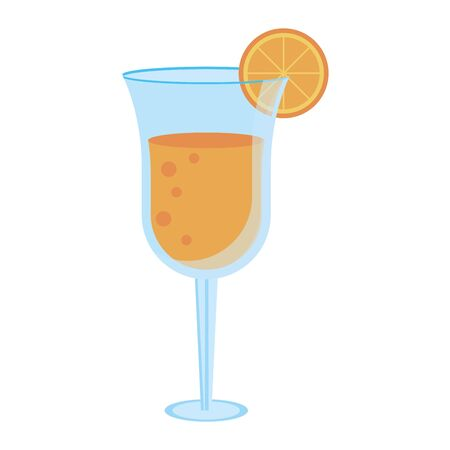 Summer cocktail glass cup with lemon vector illustration graphic design