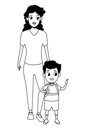 Illustration for Family single mother with son holding school backpack vector illustration graphic design - Royalty Free Image