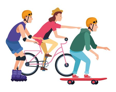 Illustration pour Young people riding with bicycles skateboard and rolling skates weating accesories ,vector illustration graphic design. - image libre de droit